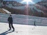 Elena snowboarding in Isola 2000 (Alpes, France) - day 3