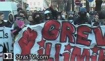 Manif du 19 mars à Strasbourg manifestants étudiants CRS