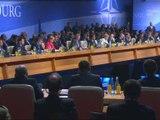 Angela Merkel speaking at Nato summit