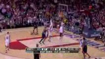 NBA West drives to the hoop for a lay up but Big Ben is ther