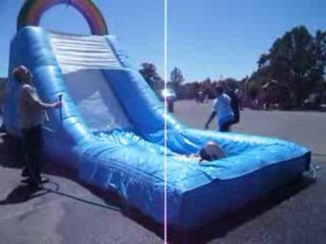 Me going down a waterslide at SJV Parish Picnic in Sedona