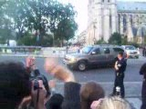 Barack Obama à Notre-Dame, départ du cortège.