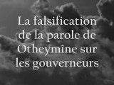 Falsification de la parole de Otheymine sur les gouverneurs