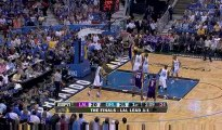 Lamar Odom misses the layup, but Pau Gasol is there for the